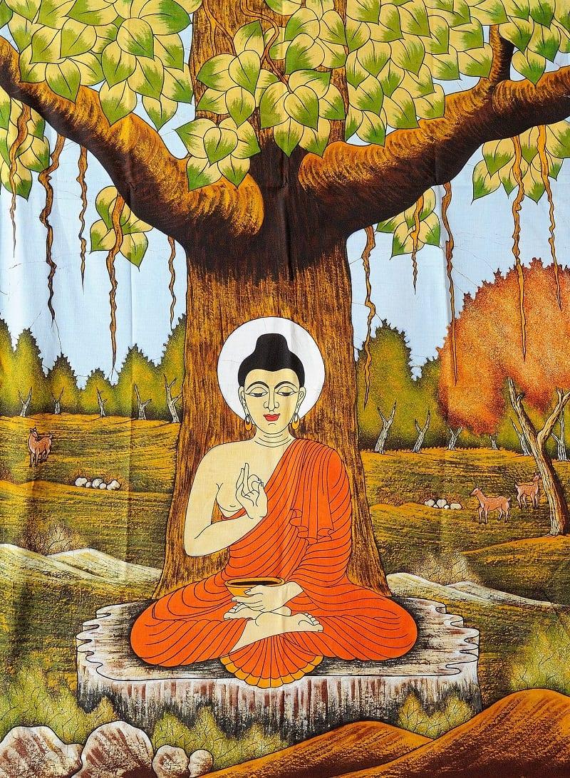 tranh vẽ Đức Phật ngồi thiền dưới gốc cây bồ đề