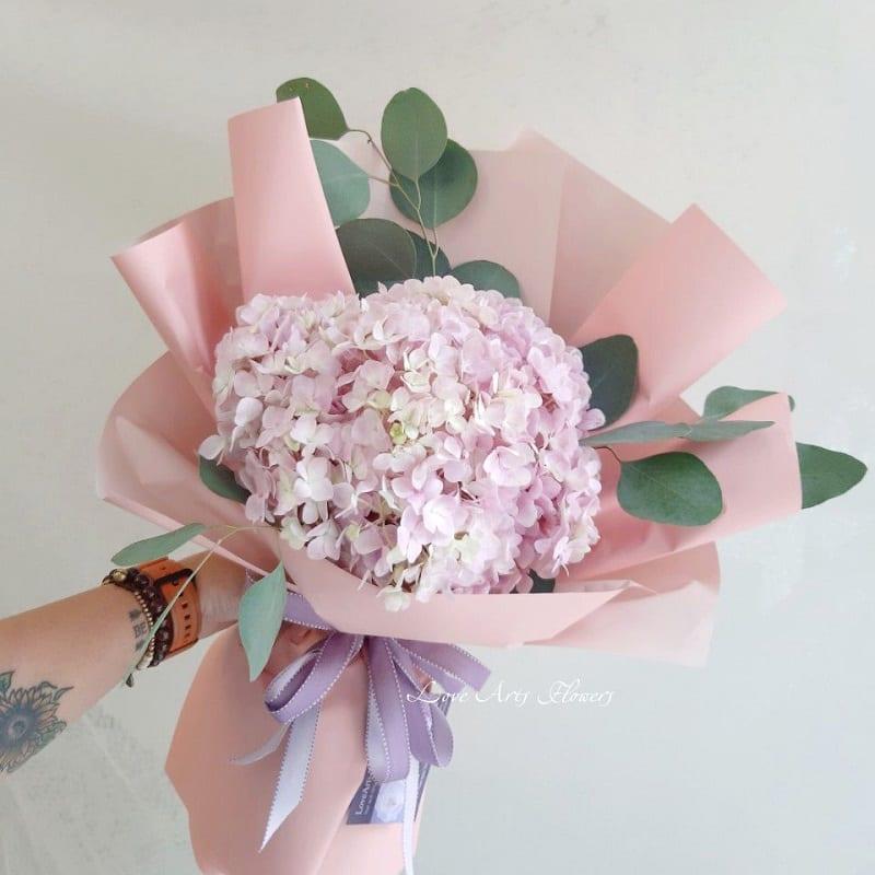 bó hoa cẩm tú cầu màu hồng nhạt điểm thêm vài lá xanh, giấy gói cũng màu hồng nhạt
