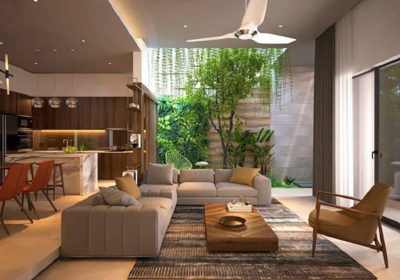 Tiểu cảnh giếng trời ở giữa không gian phòng khách và bếp