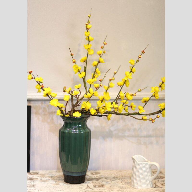 Hoa mai cắm lọ xanh dài
